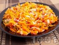 Рецепта Салата с моркови и шунка